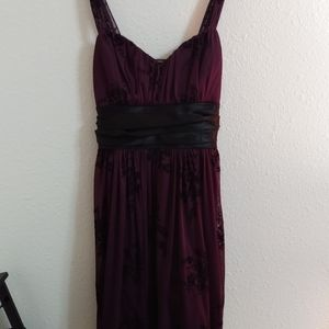 Dark Purple Floral Lace Dress Sz Lrg
